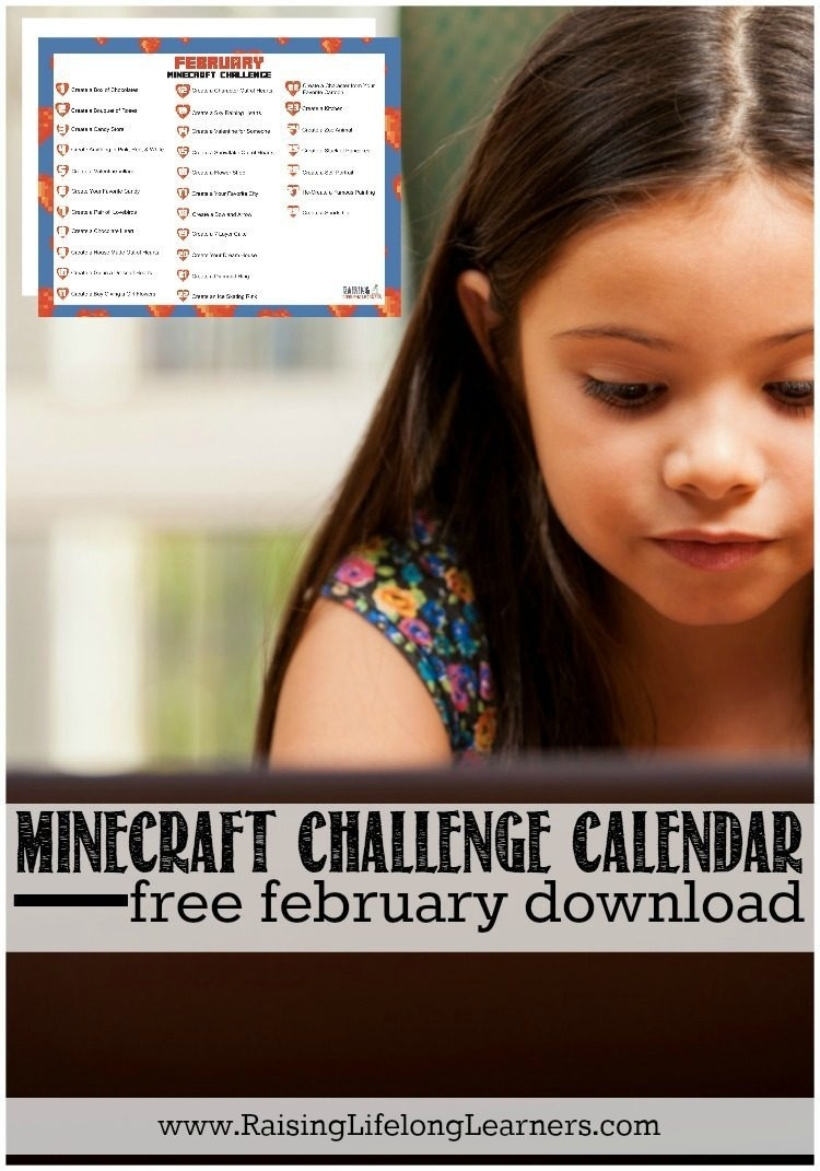 Minecraft Challenge Calendar For February | Free Download