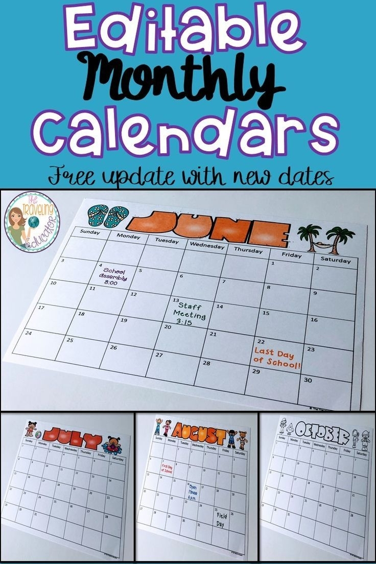 Monthly Calendar Template (2020-2022) | Teacher Calendar