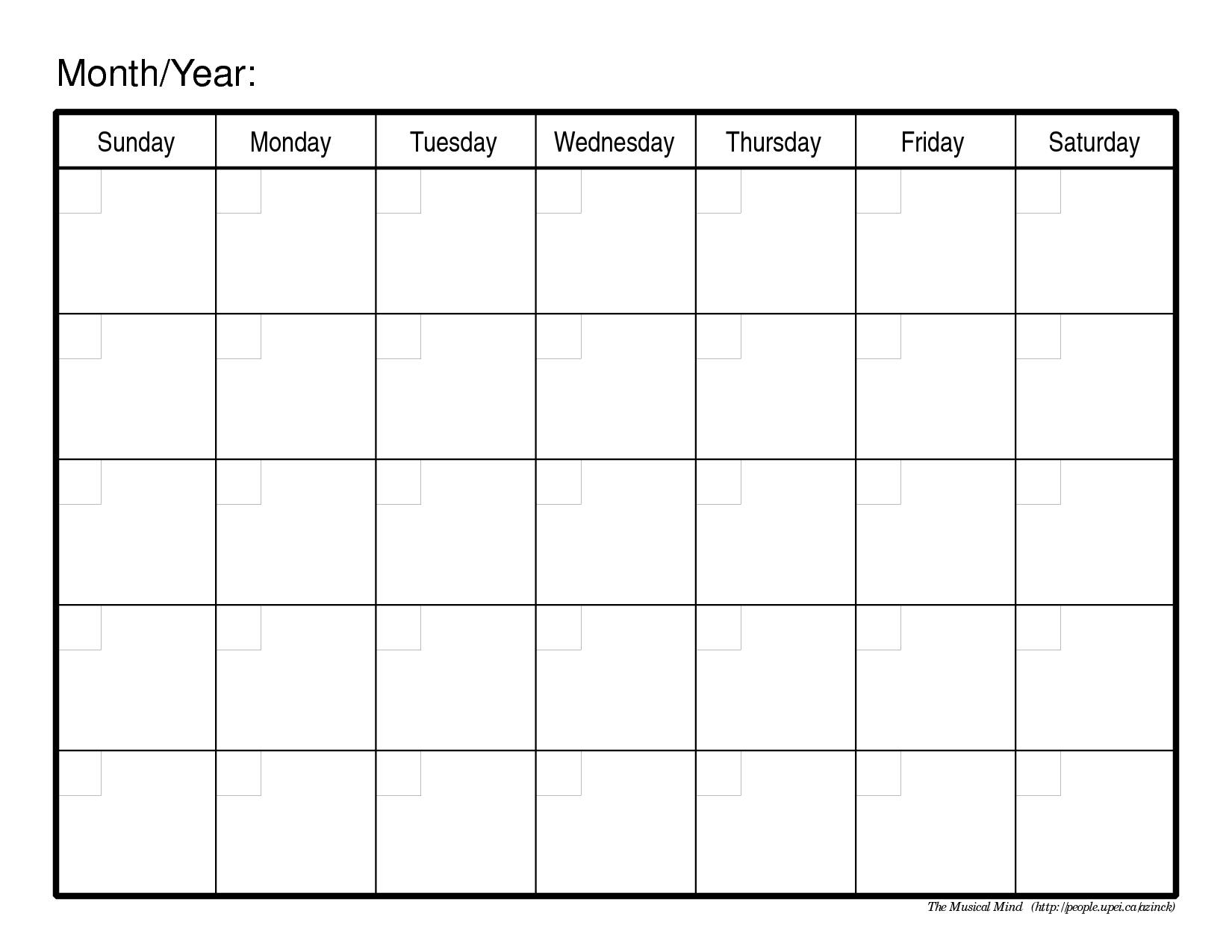 Monthly Calendar Template | Free Printable Calendar