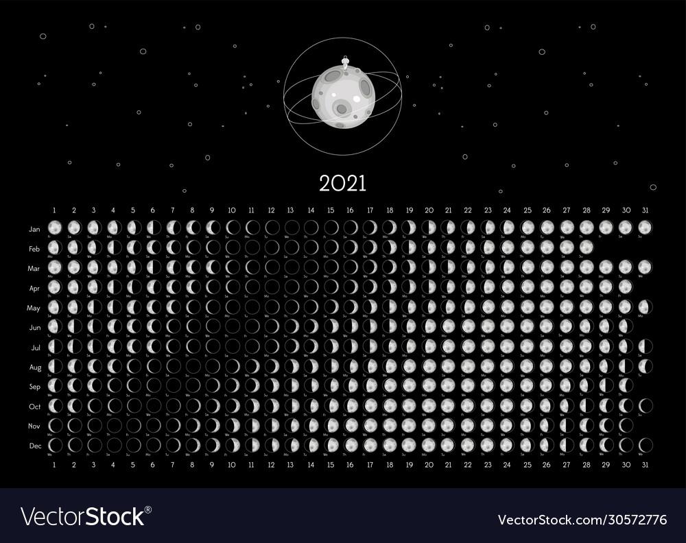 Moon Calendar 2021 Northern Hemisphere Black Vector Image