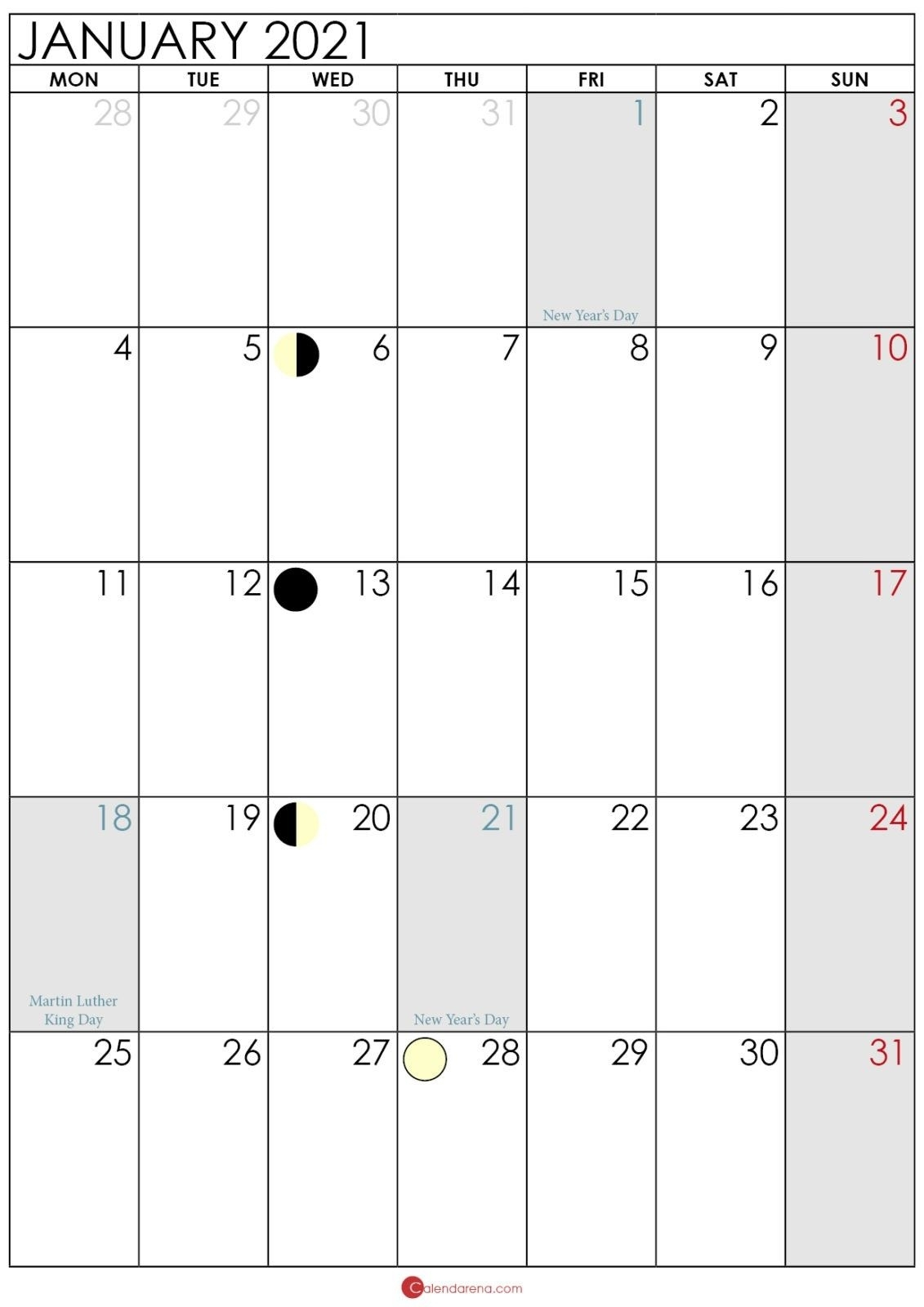Moon Phase January 2021 In 2020 | Calendar Printables, 2021