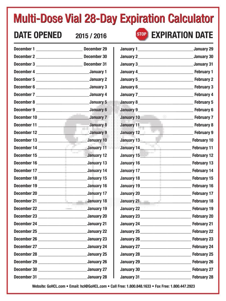 Multi Dose Vial 28 Day Expiration Calendar 2020 - Fill