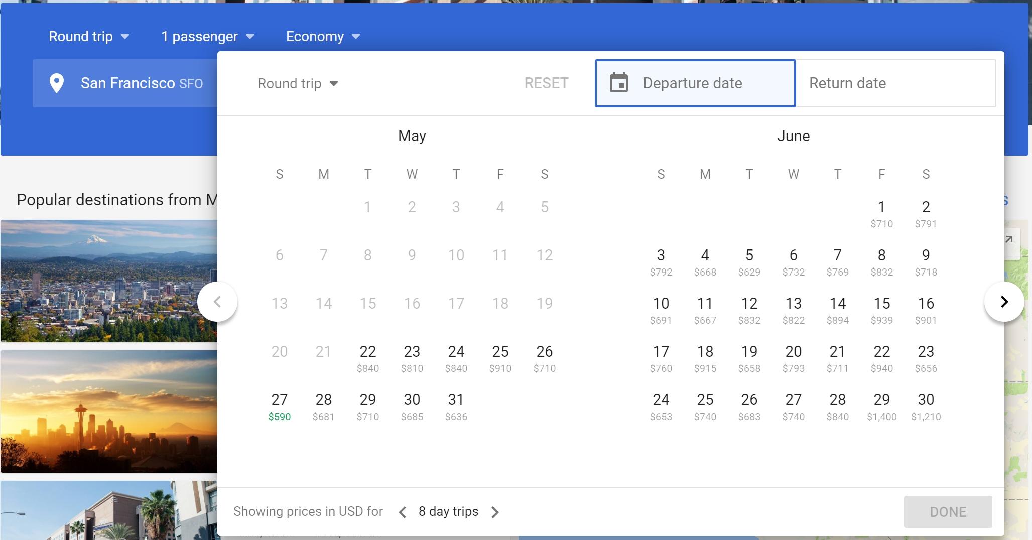 Navigating New Google Flights Fare Calendar, Fare Matrix And