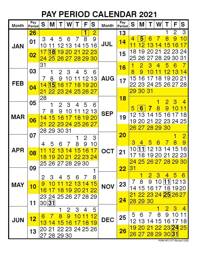 Nfc Payroll Calendar 2021 | Payroll Calendar