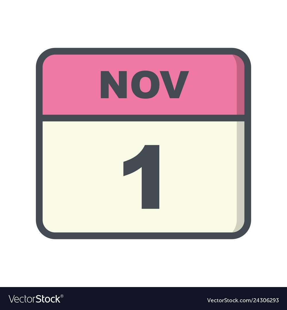 November 1St Date On A Single Day Calendar Vector Image