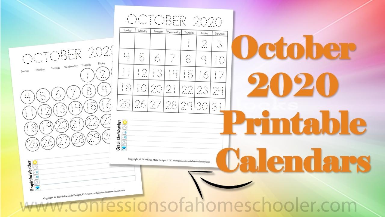 October 2020 Printable Calendars - Confessions Of A Homeschooler