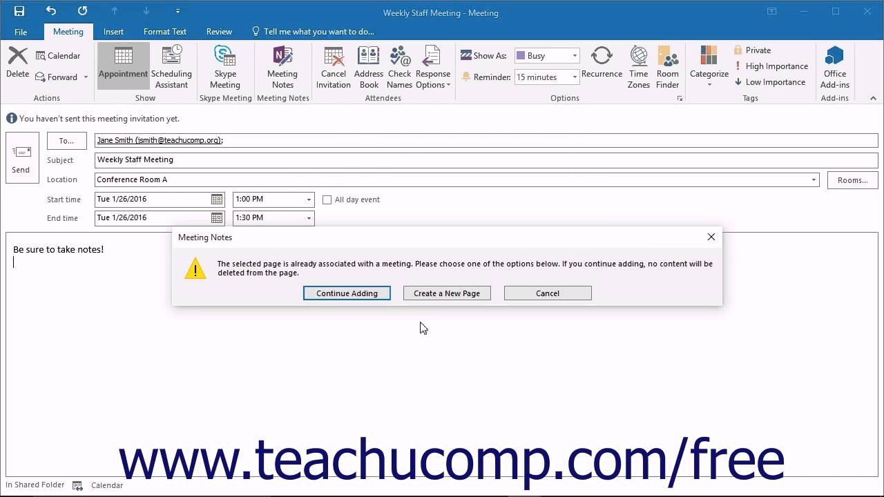 Outlook 2016 Tutorial Meeting Notes Microsoft Training Lesson