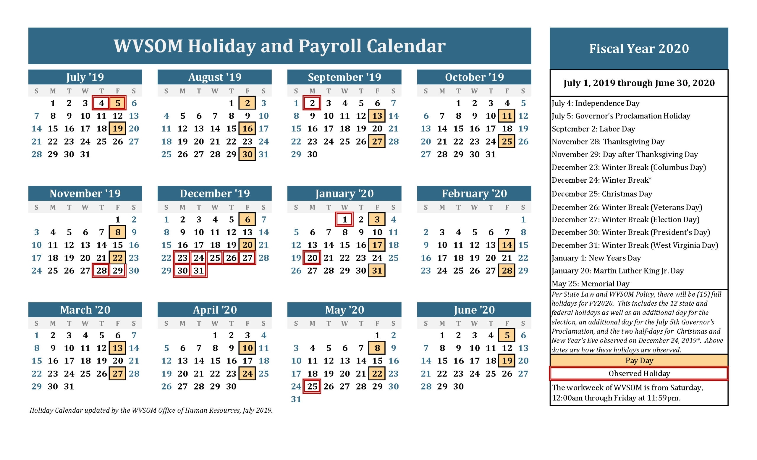Payroll Calendar Excel Template | Payroll Calendar 2021