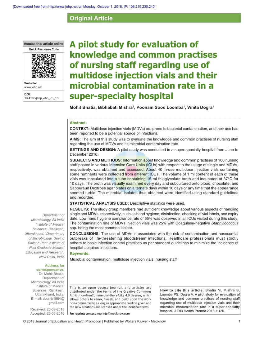Pdf) A Pilot Study For Evaluation Of Knowledge And Common