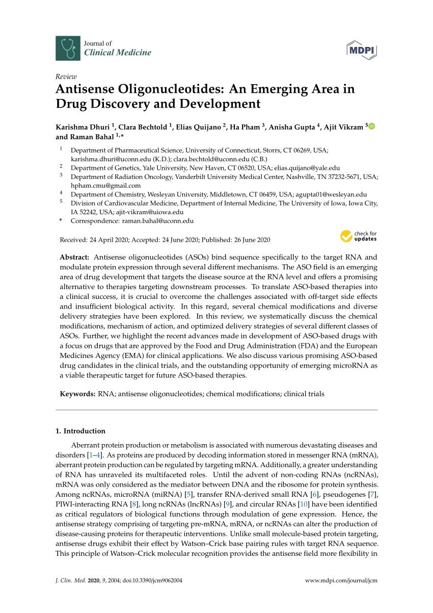 Pdf) Antisense Oligonucleotides: An Emerging Area In Drug