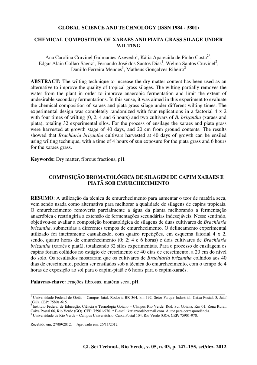 Pdf) Chemical Composition Of Xaraes And Piatã Grass Silage