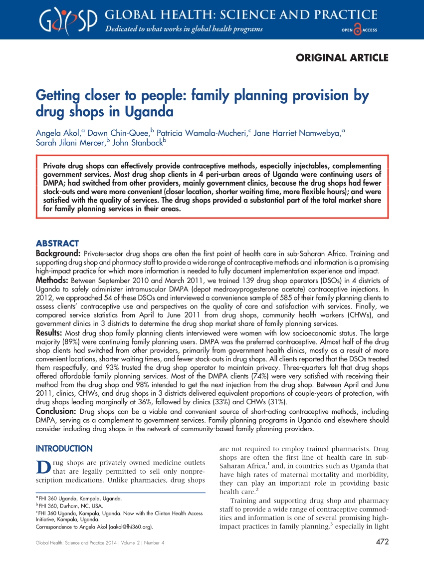 Pdf) Getting Closer To People: Family Planning Provision By