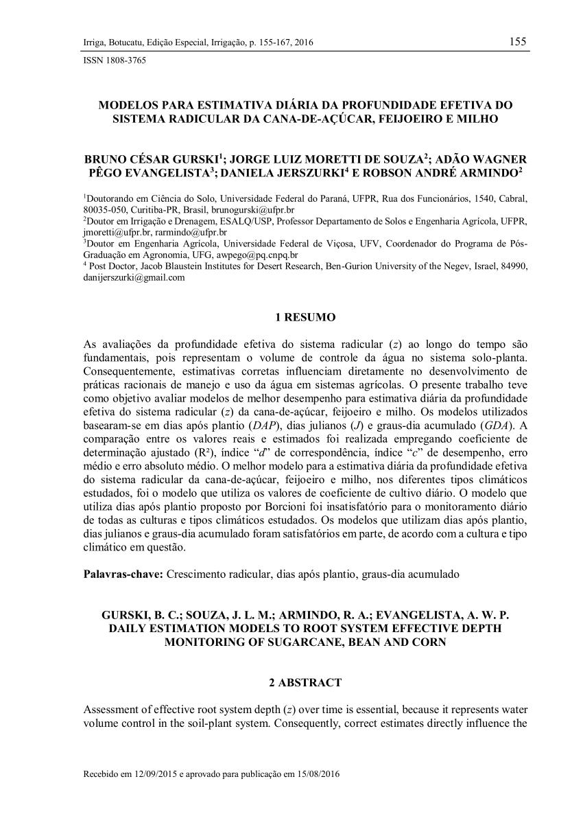 Pdf) Modelos Para Estimativa Diária Da Profundidade Efetiva