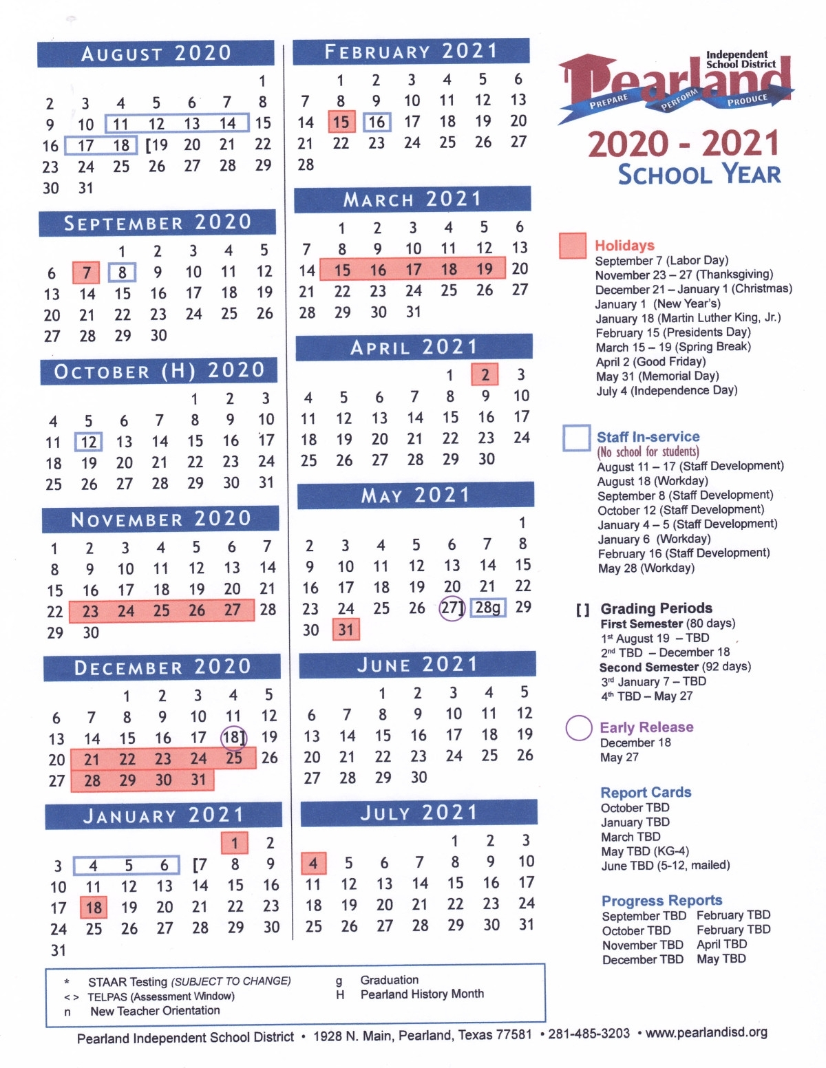 Pearland Isd 2020/2021 Calendar Has Been Approved