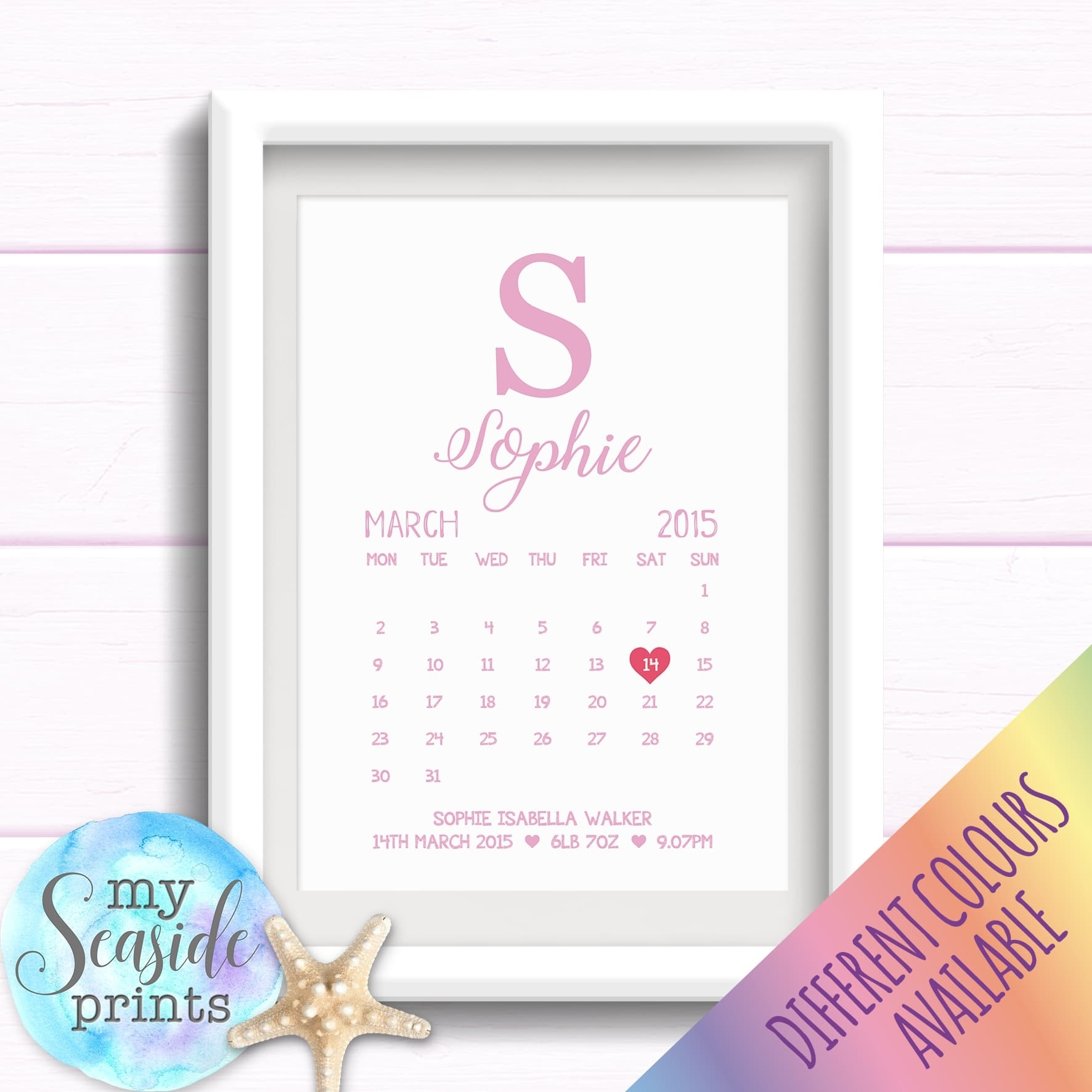 Personalised Girls Nursery Print Or New Baby Gift - Calendar Birth Date