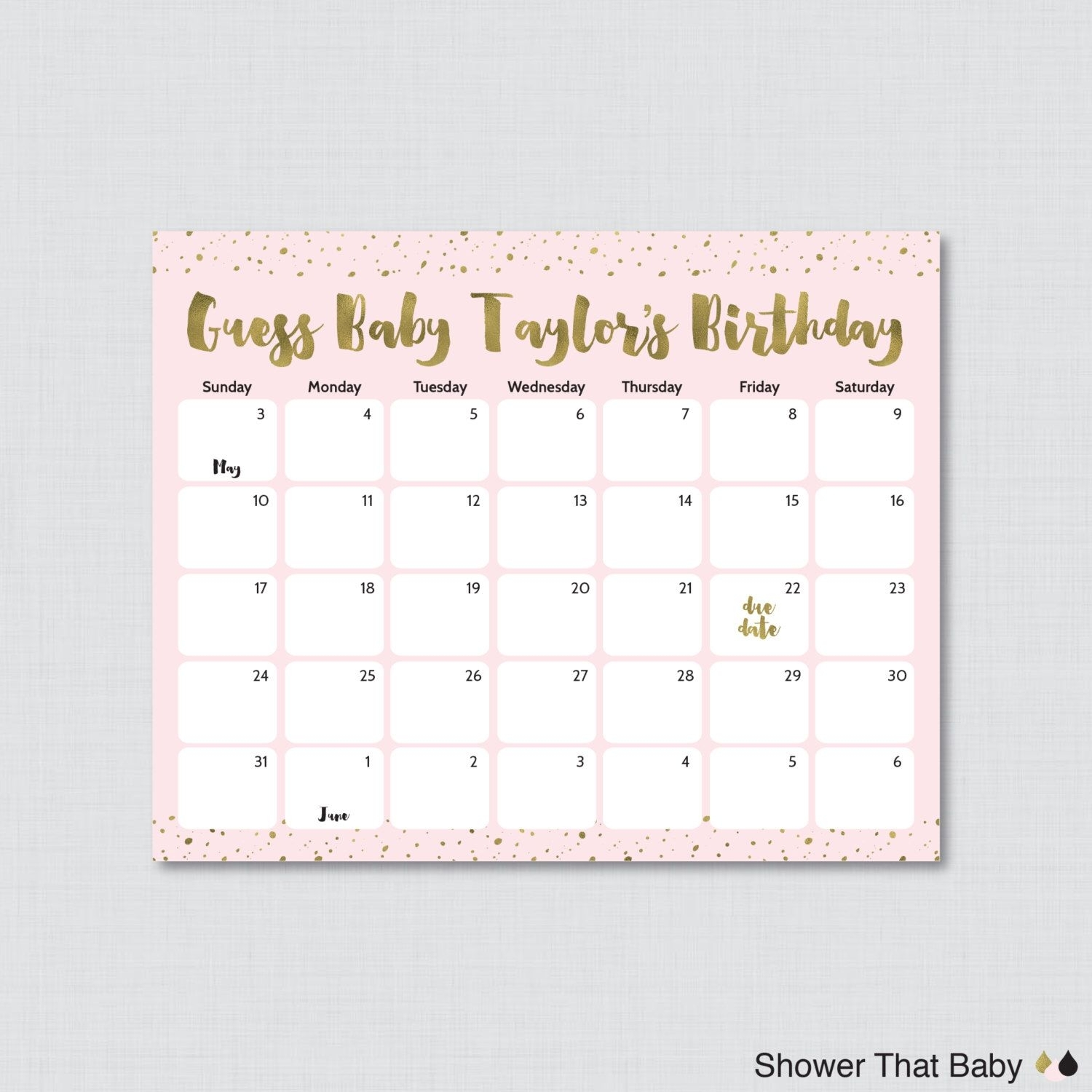 Pink And Gold Baby Shower Birthday Predictions Printable