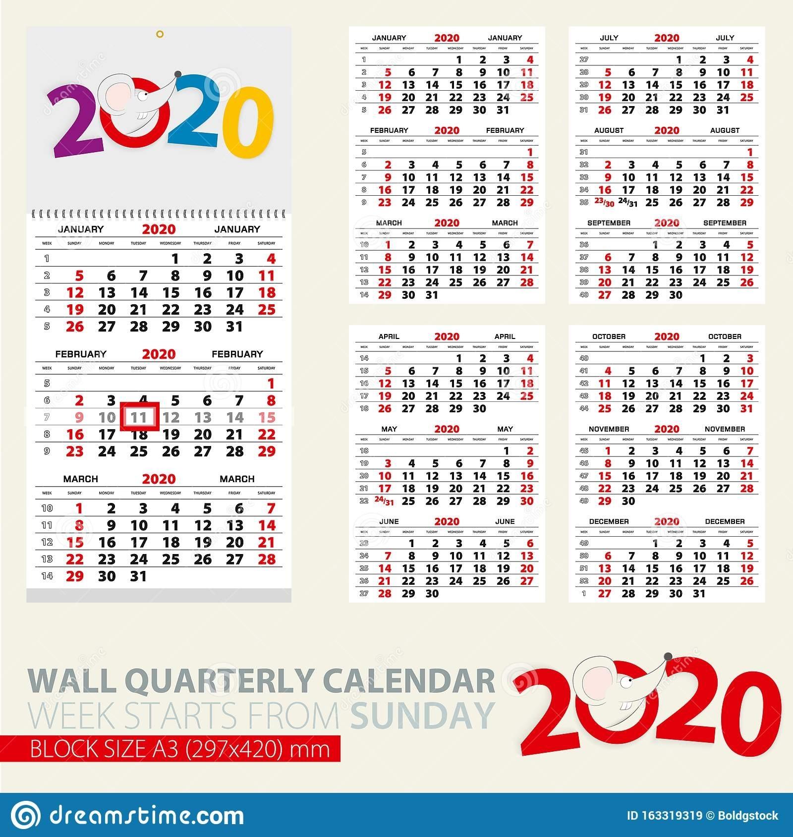 Plantilla Impresa Del Calendario Trimestral Mural Para 2020