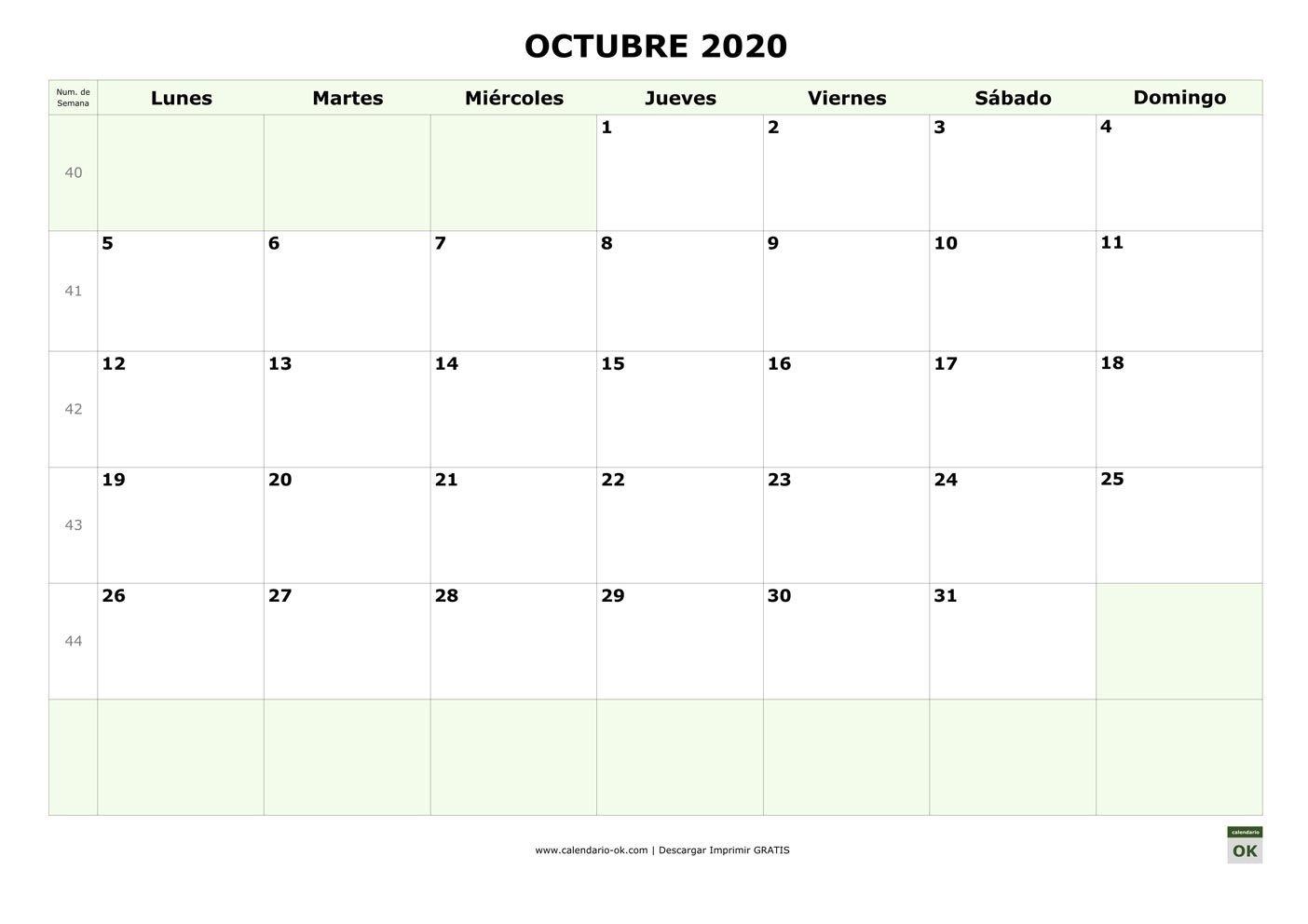 Plantilla Octubre 2020 Con Numero De Semana | Calendario