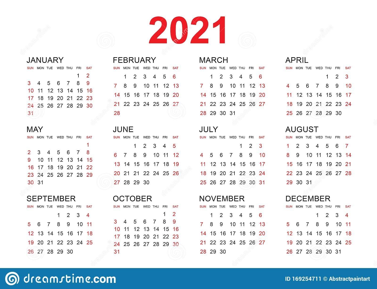 Plantilla Vectorial De Calendario 2021, Diseño Simple Mínimo