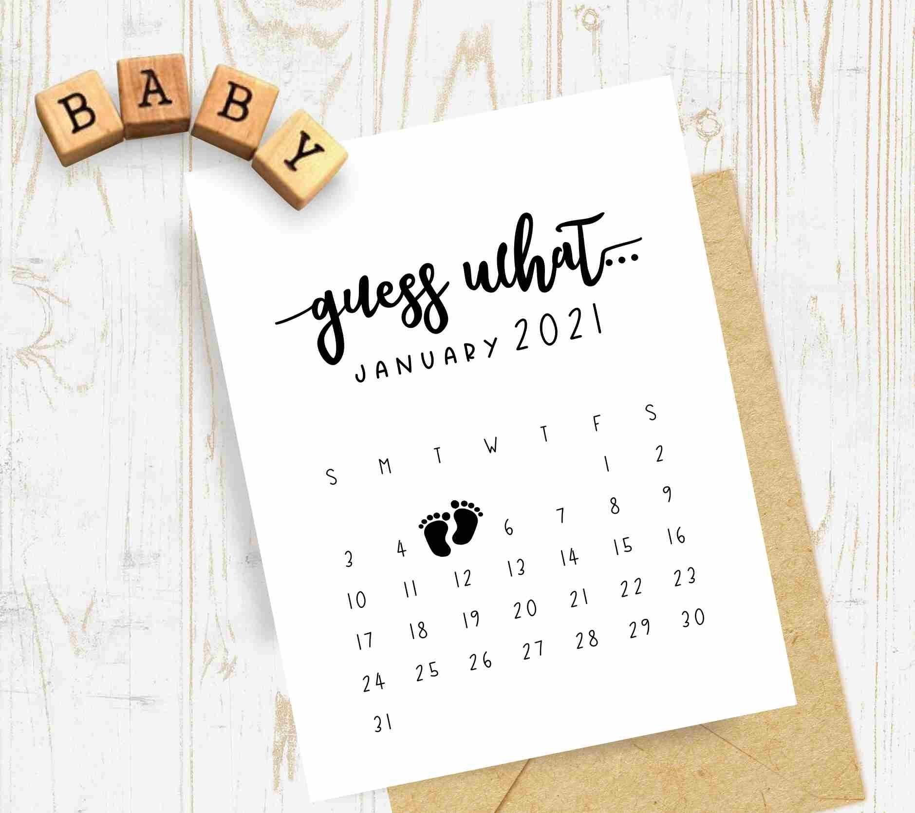 Pregnancy Announcement Calendar - Personalized Guess What Calendar