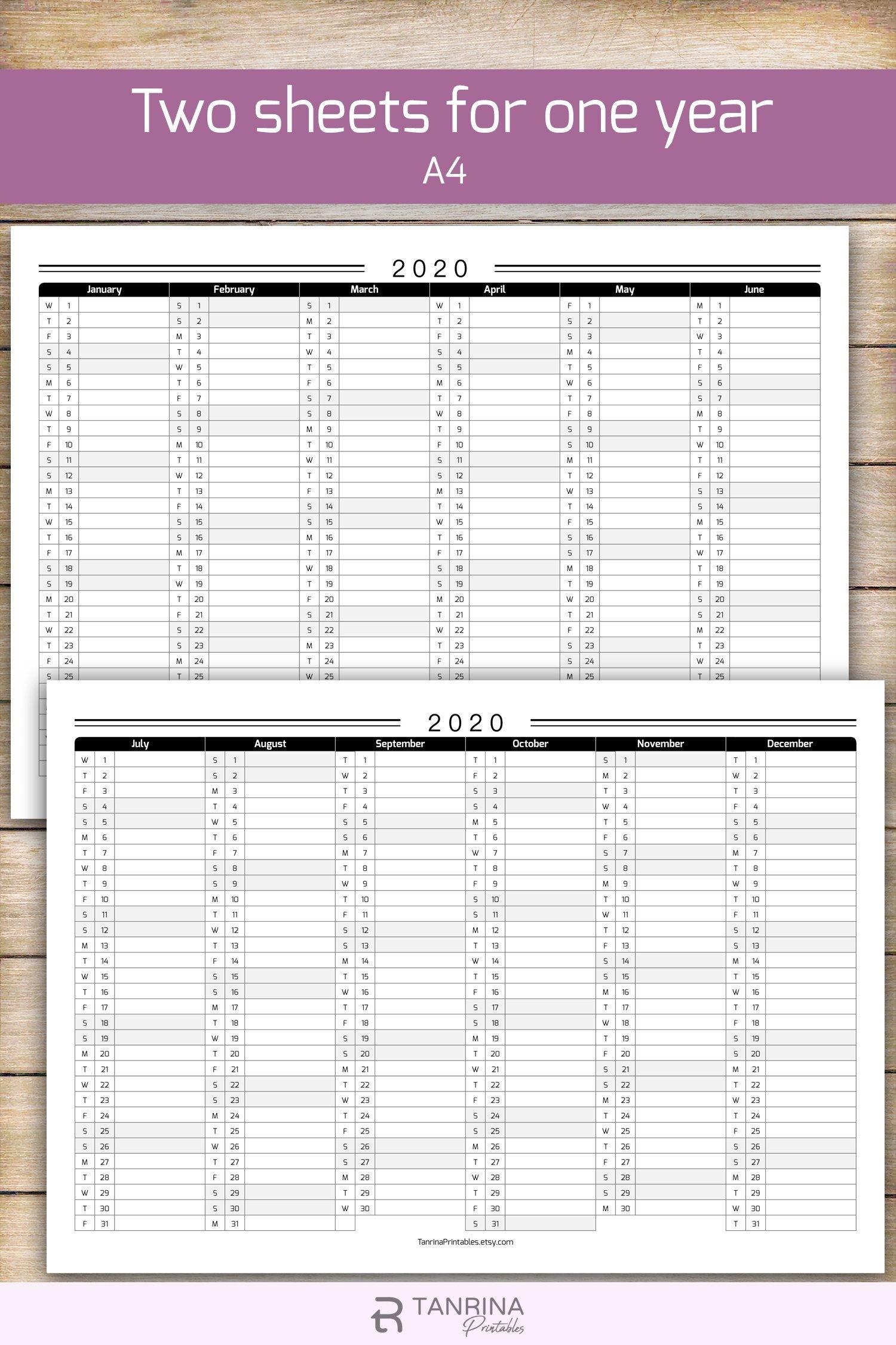 Printable 2021 Calendar Planner Minimalist Half Year Wall
