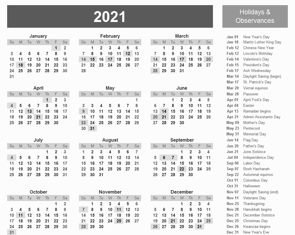 Printable 2021 Calendar With Holidays | Monthly Calendar