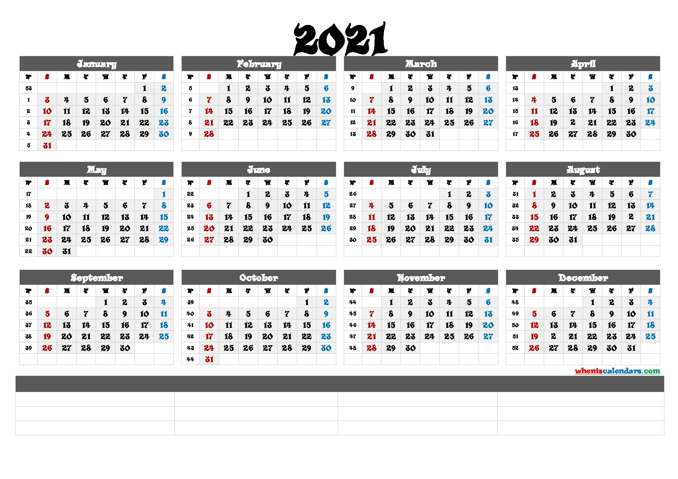 Printable 2021 Yearly Calendar With Week Numbers (6 Templates)