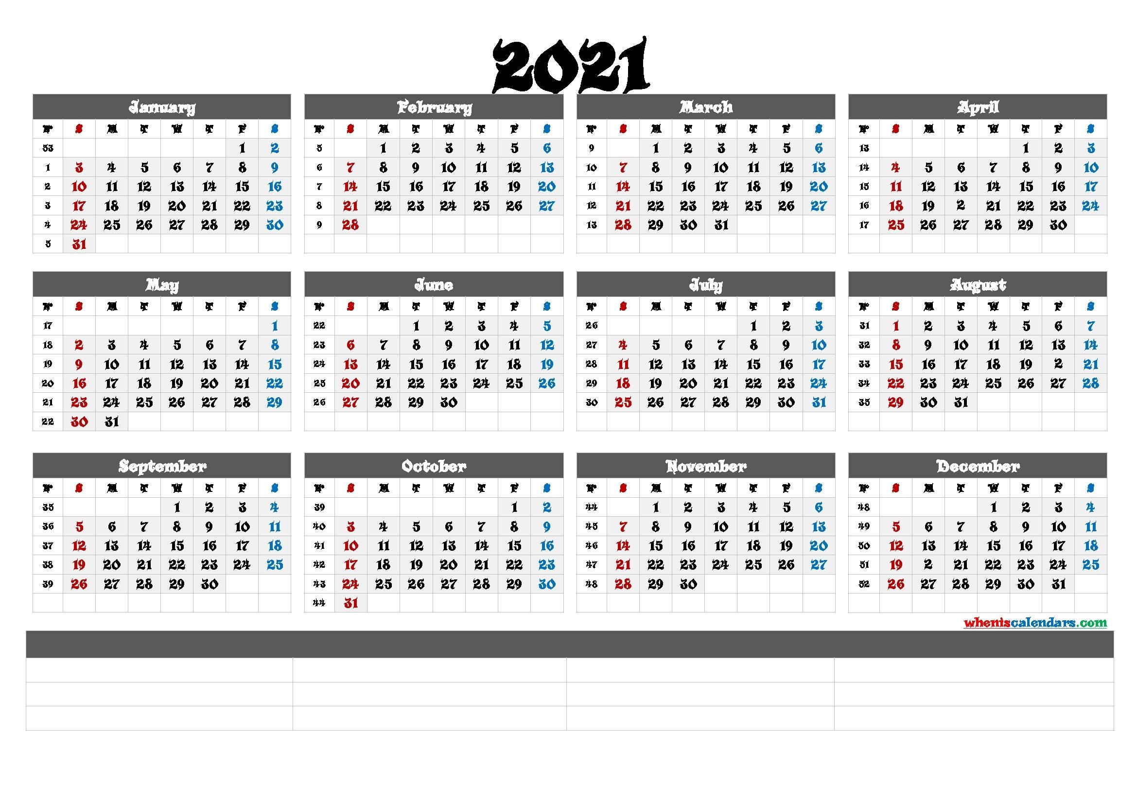 Calendar 2021 With Weeks Number Template | Calendar ...