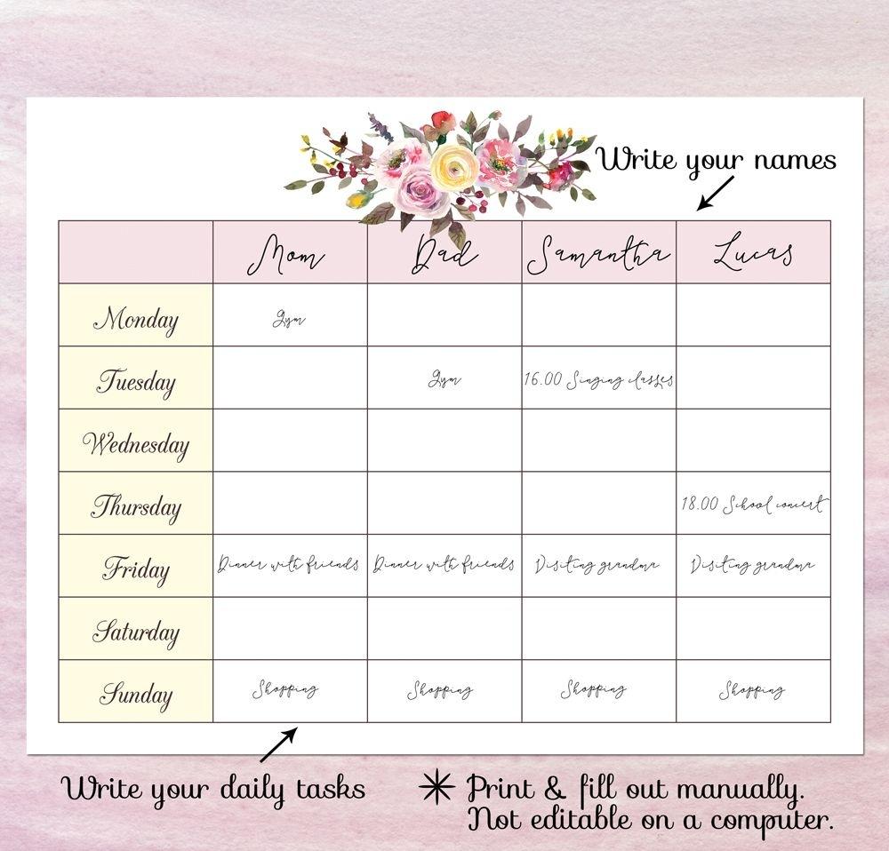 Printable Blank Calendar Planner, Blank Weekly Schedule
