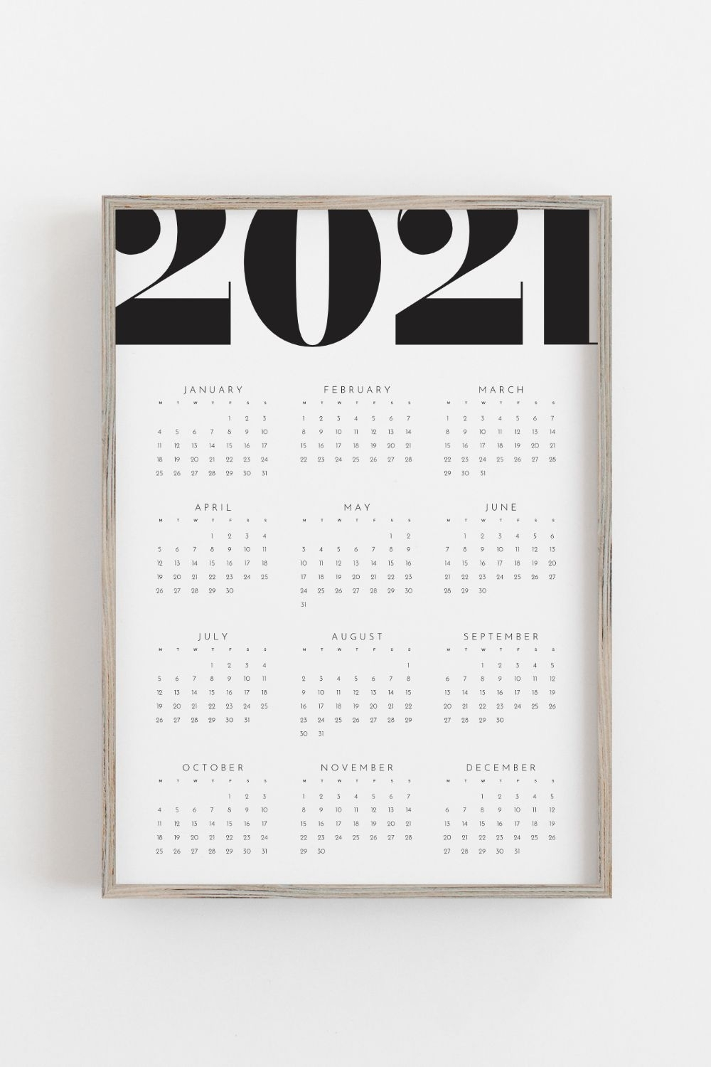 Printable Calendar 2021 Yearly Wall Calendar Year At A