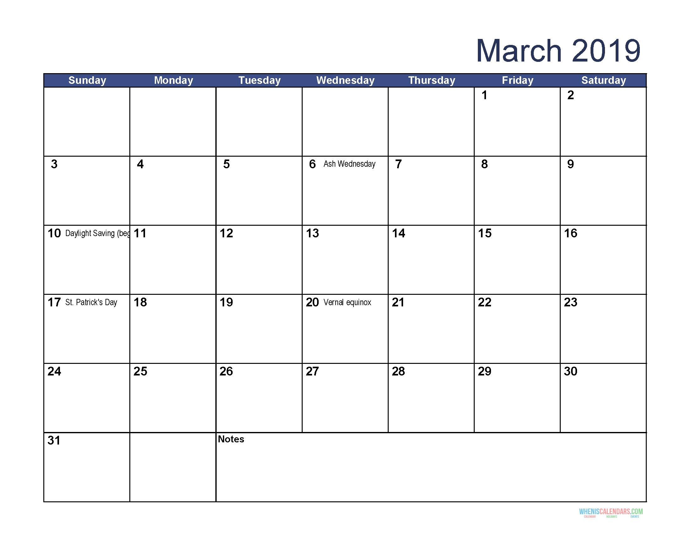 Printable Calendar For March 2019 Word In 2020 | Calendar