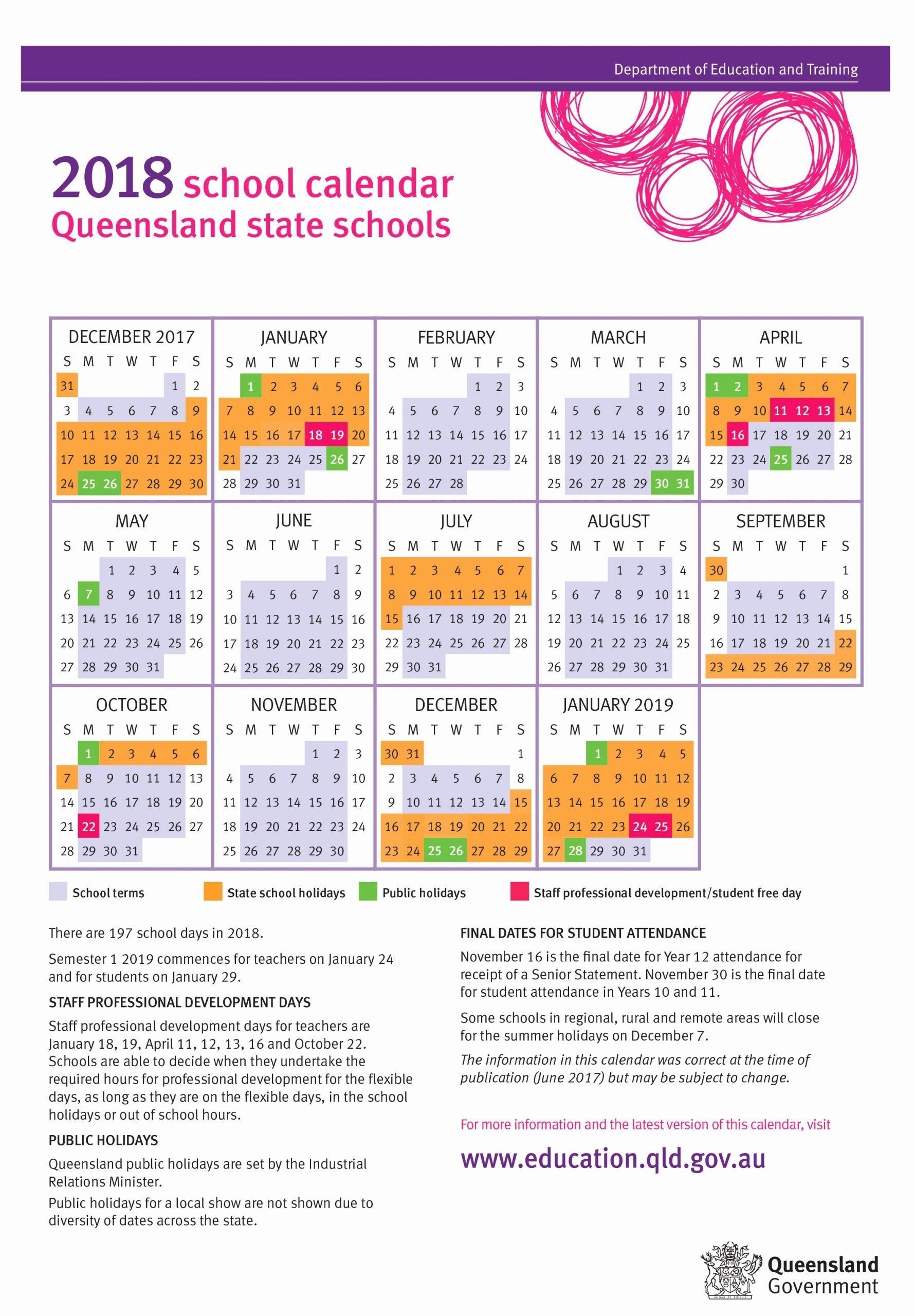 Printable Calendar Queensland 2019 In 2020   School Calendar