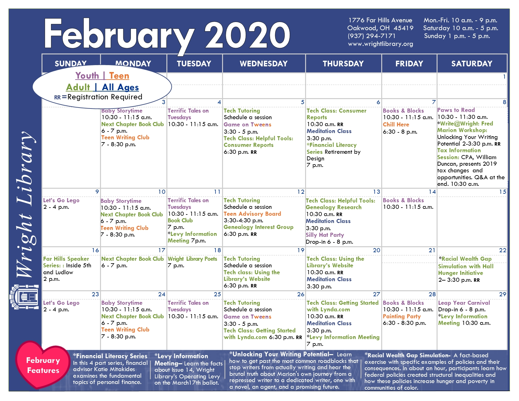 Printable Calendar | Wright Public Library