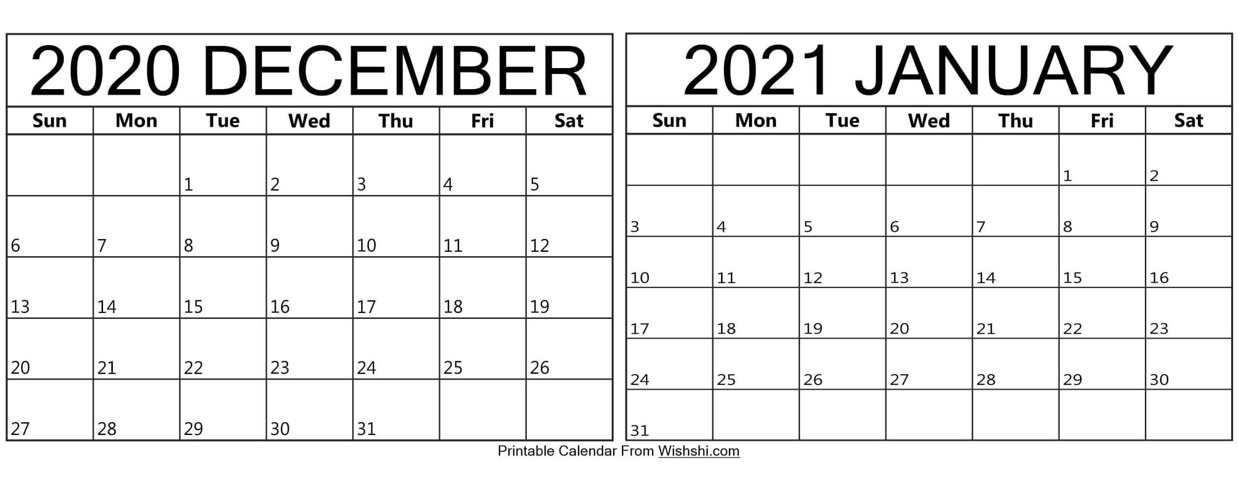 Printable December 2020 January 2021 Calendar - Free