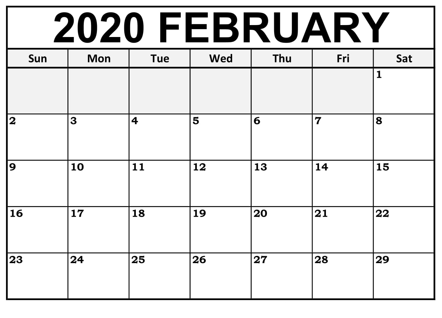 Printable February Calendar For 2020 – Waterproof Paper | 12