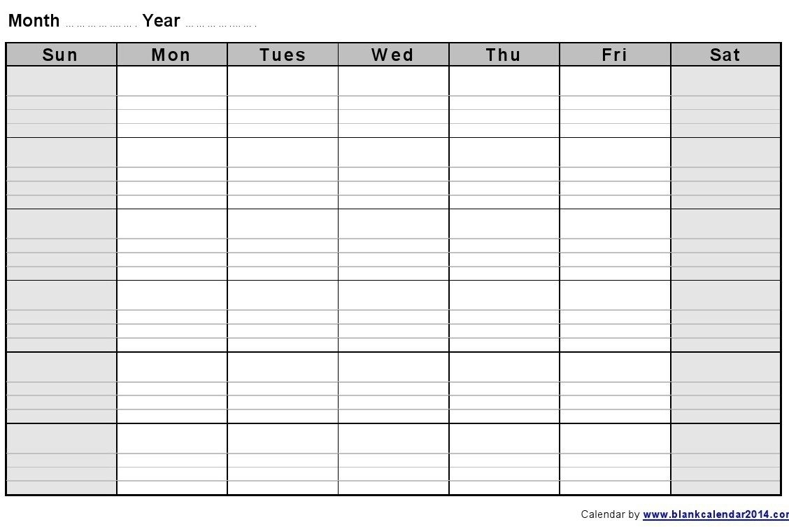 Printable Monthly Calendar With Lines In 2020 | Blank
