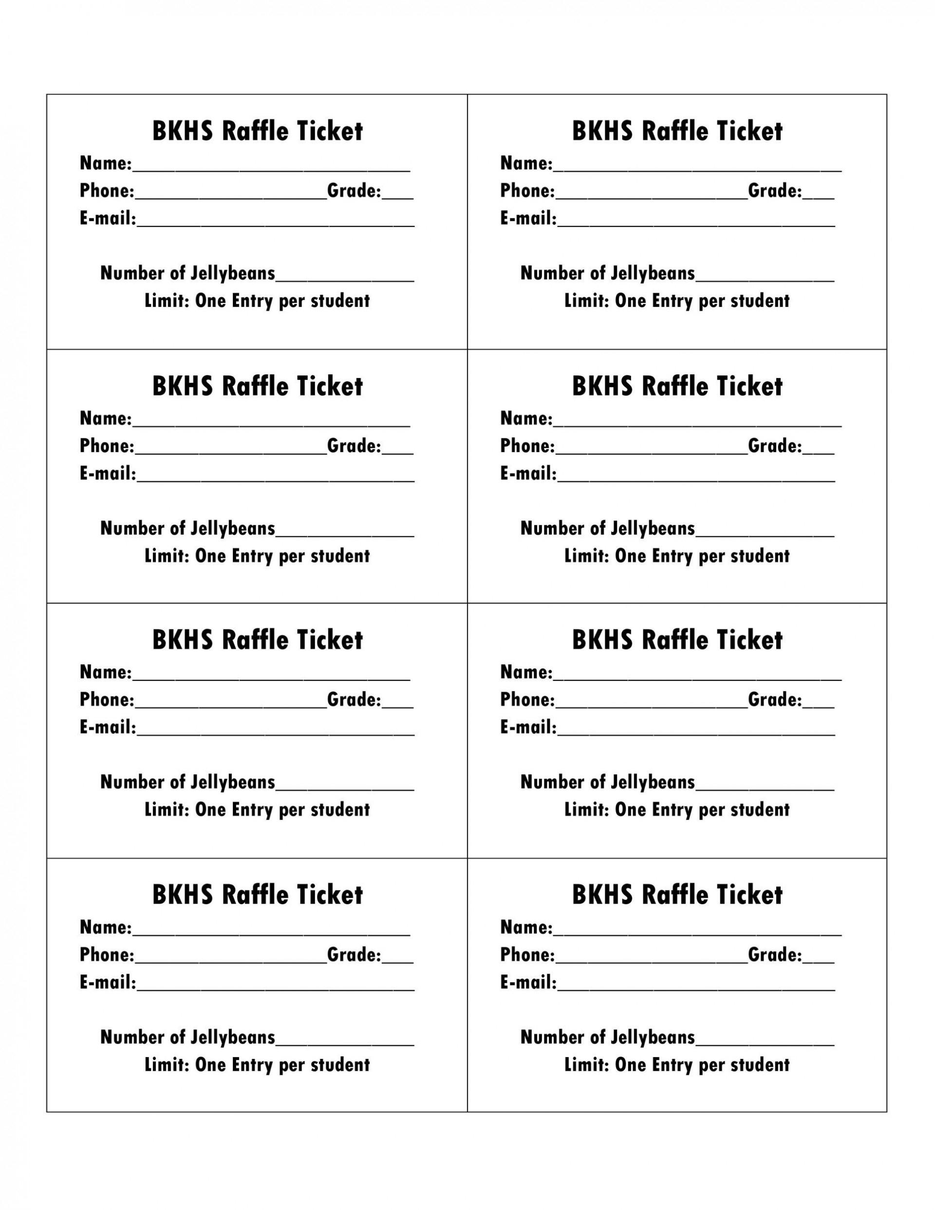 Printable Raffle Ticket Template ~ Addictionary