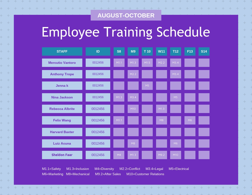 Purple Employee Training Schedule Template