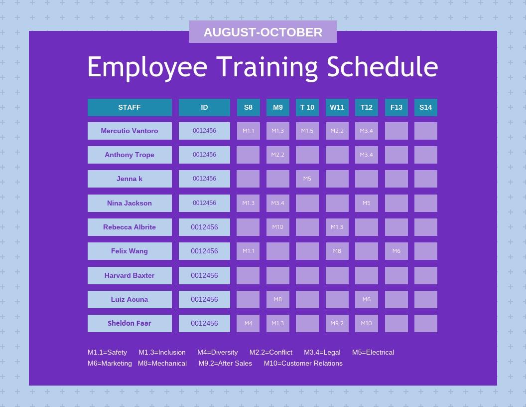 Purple Employee Training Schedule Template