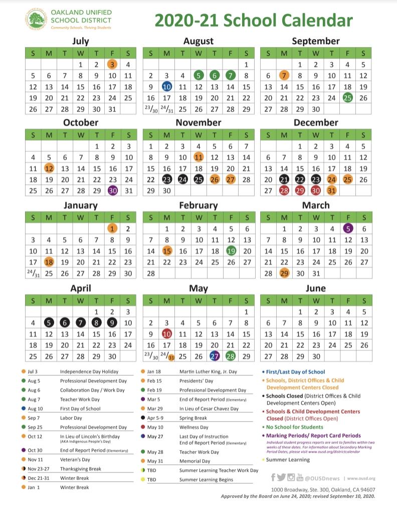 School Year Calendar / 2020-21 School Year Calendar