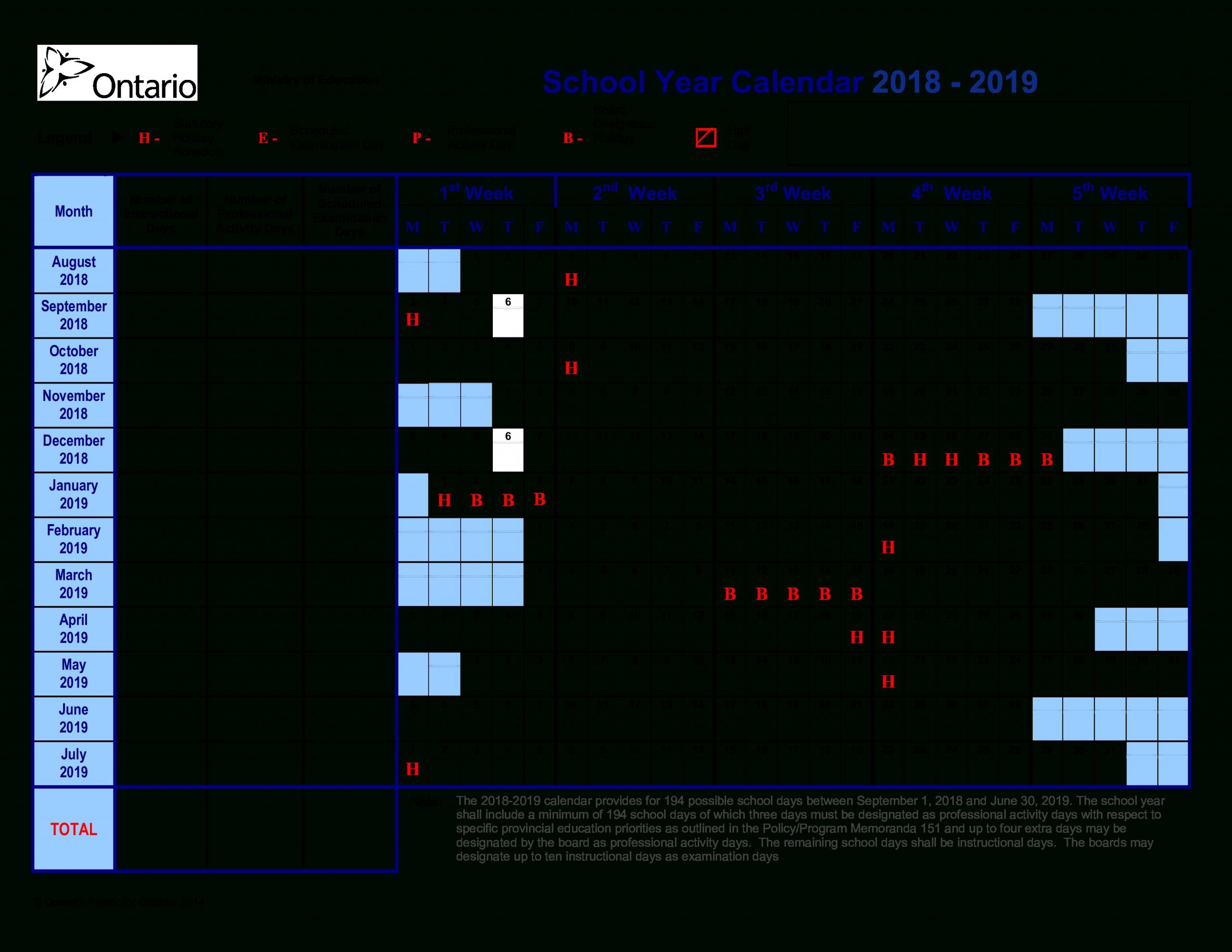 School Year Training Calendar 2018-2019 | Templates At