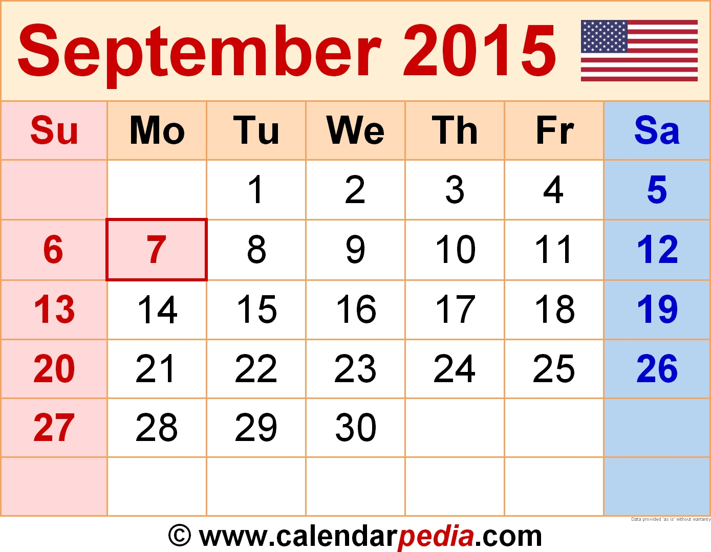 September 2015 Calendar | Templates For Word, Excel And Pdf