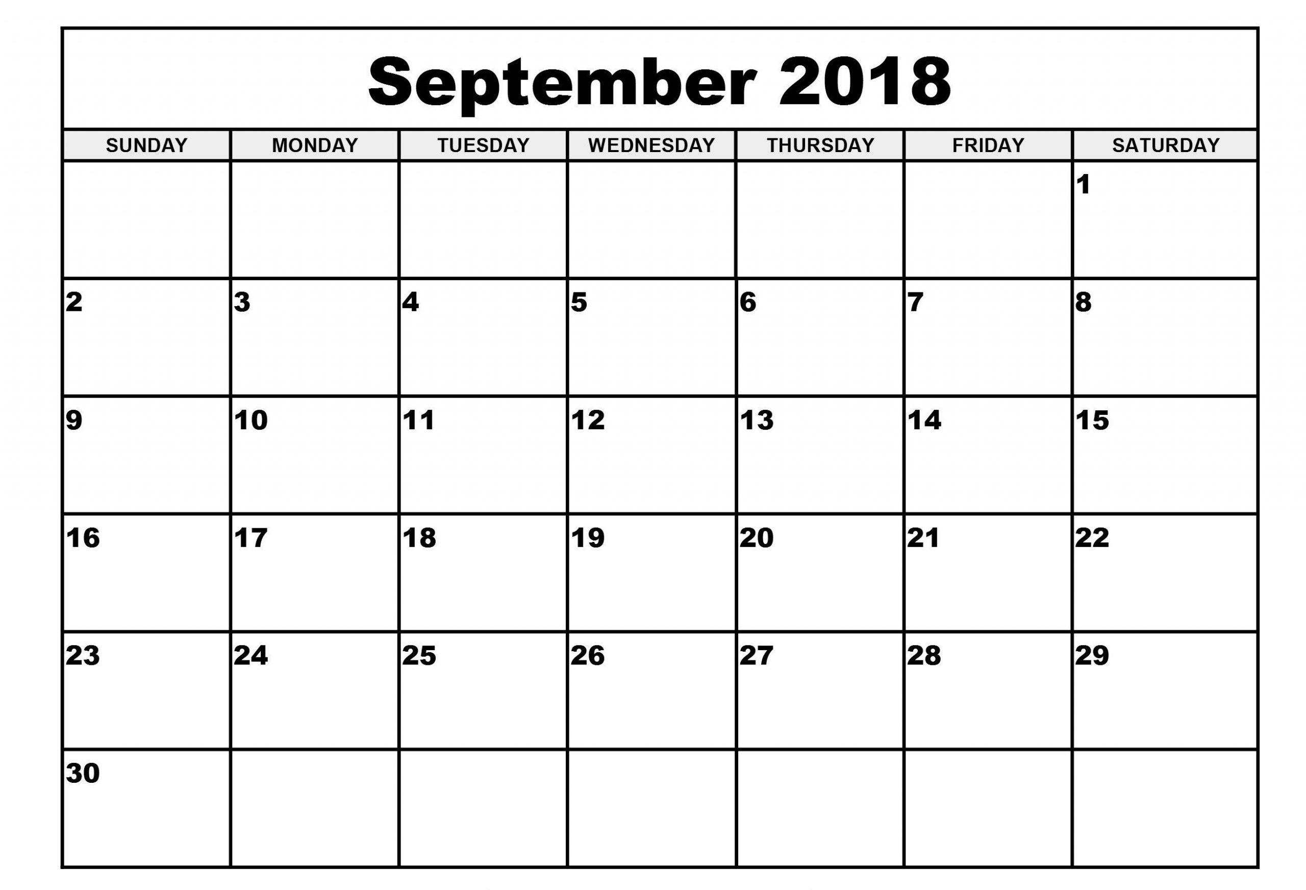 September 2018 Calendar Spanish Word Excel Pdf | Calendar