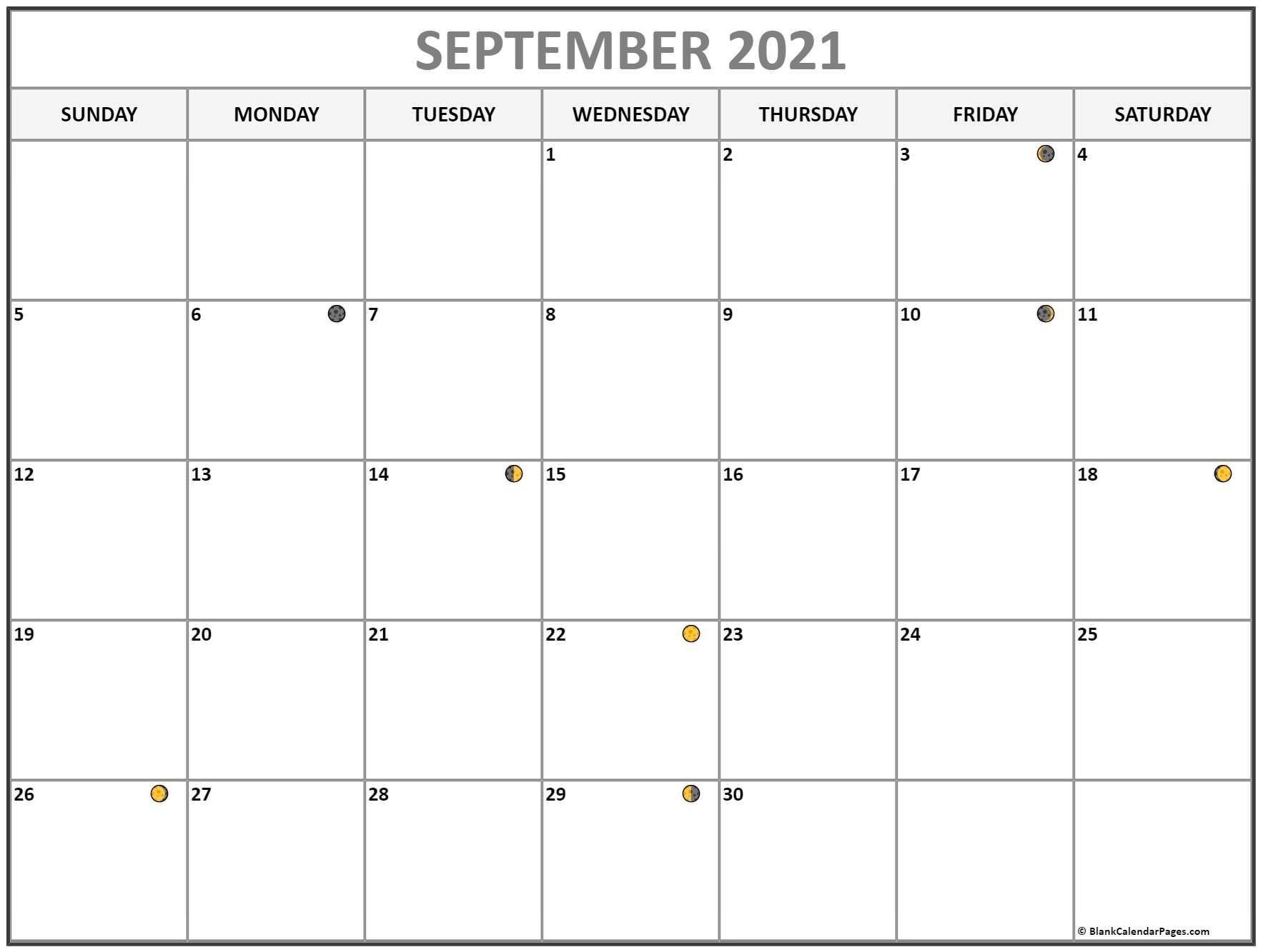 September 2021 Lunar Calendar | Moon Phase Calendar