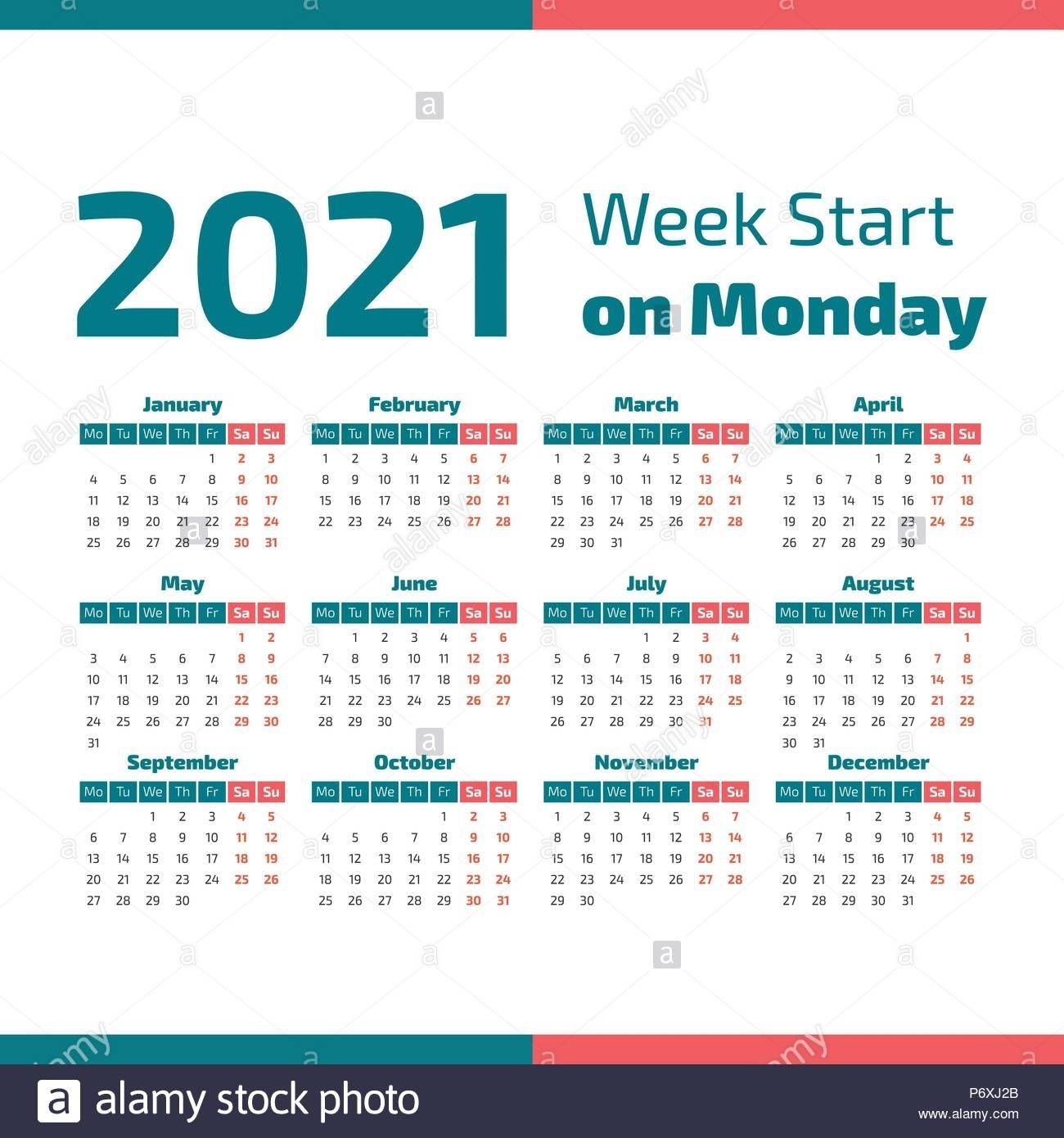 Simple Calendario Del Año 2021, La Semana Comienza En Lunes