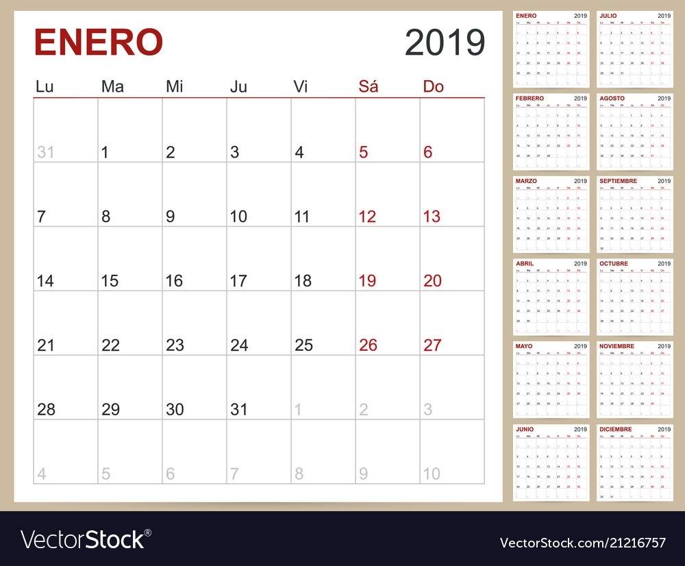 Spanish Calendar 2019 Royalty Free Vector Image