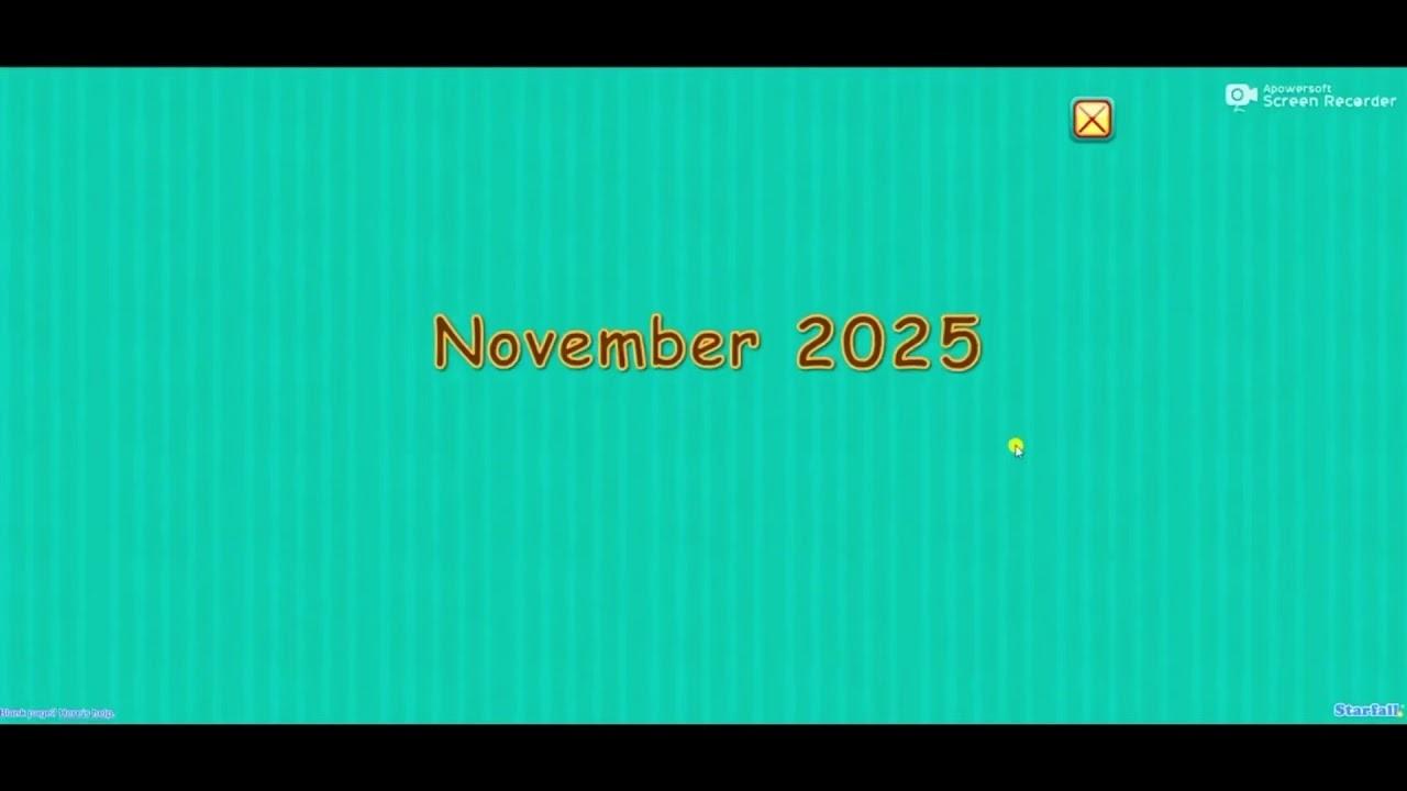 Starfall Calendar, November 28 2025