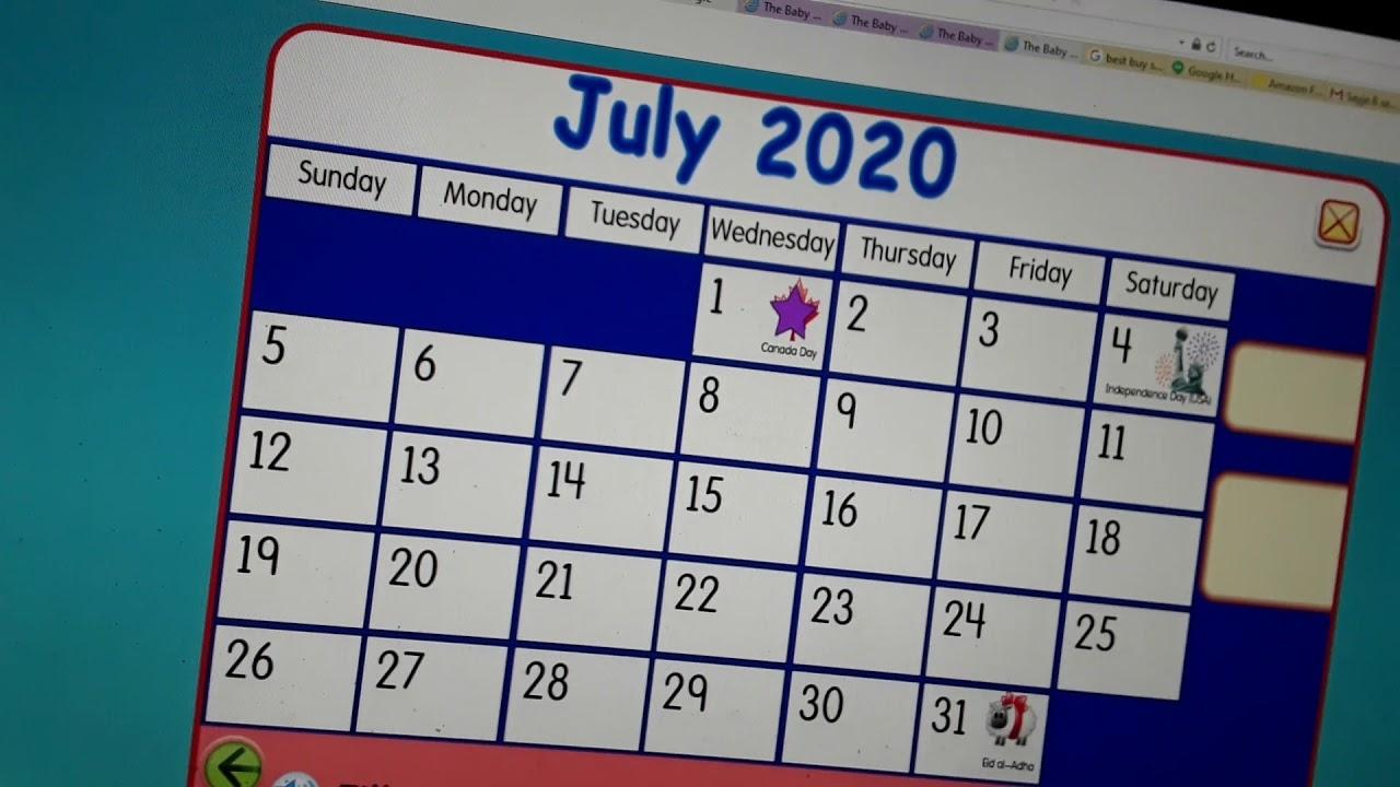 Starfall Make A Calendar July 2020 - Youtube