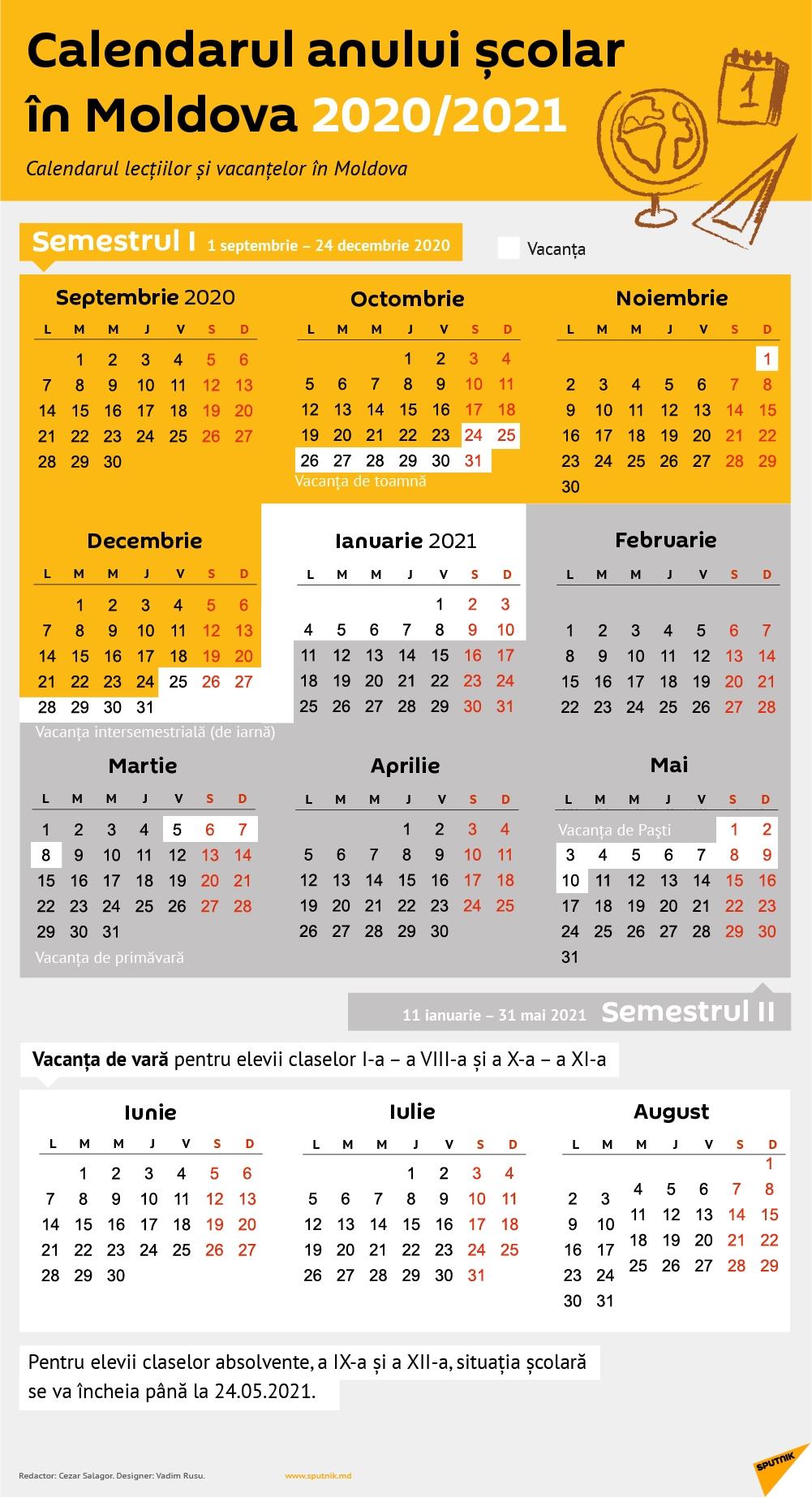 Structura Anului Școlar 2020-2021: Calendarul Lecțiilor Și
