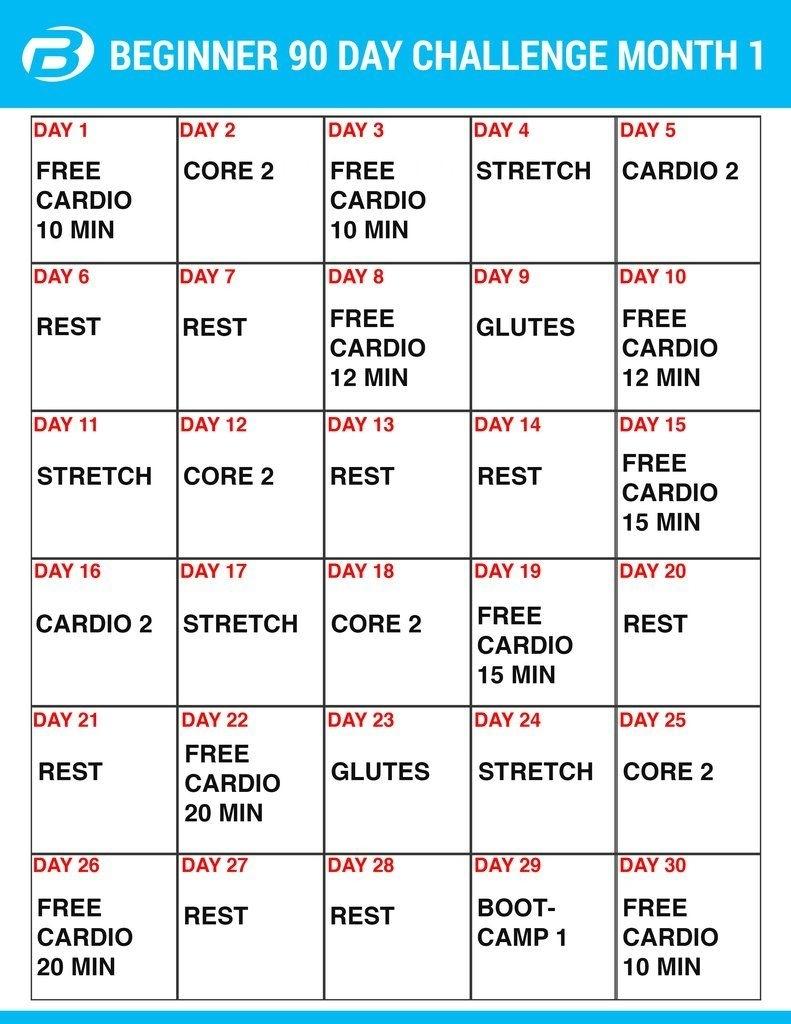 Supreme 90 Day Workout Schedule | Printable Calendar 2020-2021